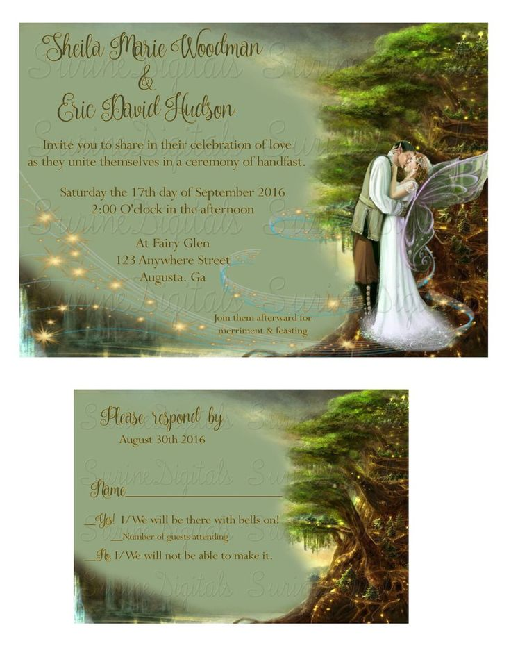 Fairy Themed Wedding Invitation and Reply Card