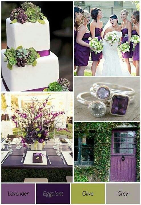 Brittany olive eggplant and gray wedding palette my for Olive green colour combination