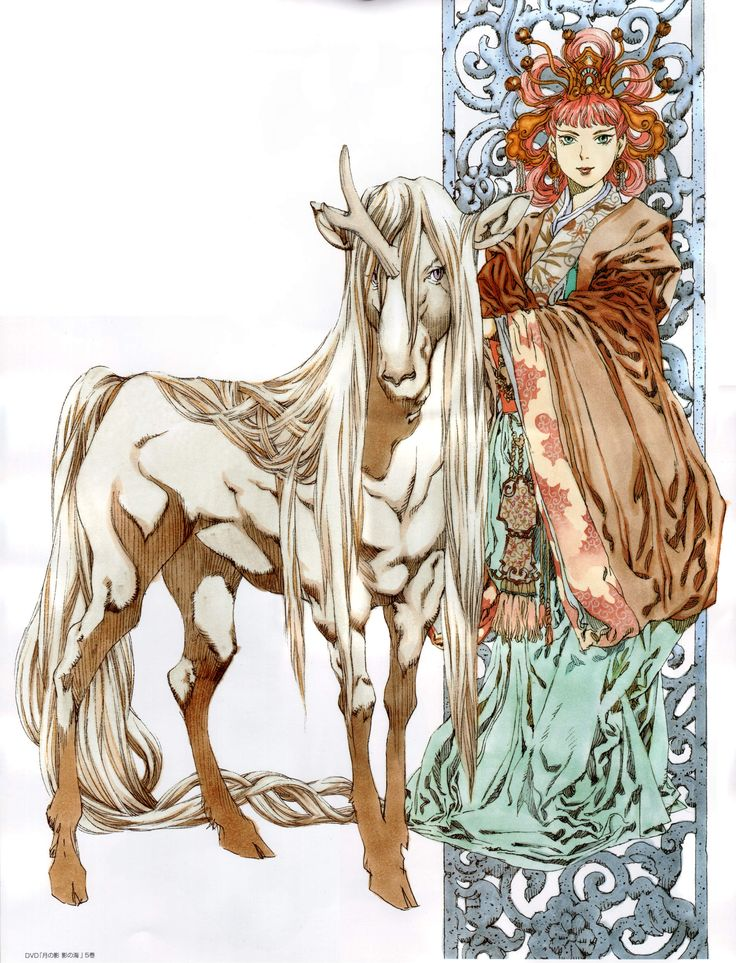 陽子 Youko、景麒 Keiki:十二国記 Juuni Kokki/Twelve Kingdoms - art by Yamada Akihiro 山田章博