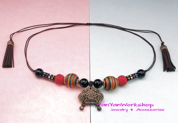 Rainbow Colors Thread Beads Necklace Carved by YanYanWorkshop