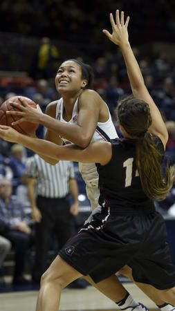 UConn vs IUP WBB Napheesa  during the first half at Gampel Pavilion in Storrs Tuesday night. Collier scored 8 points as the Huskies lead 68-24 at the half. (John Woike / Hartford Courant)