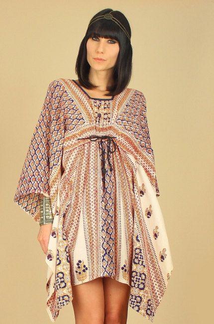 ViNtAgE 60's 70's INDIAN CAFTAN Mini Dress by hellhoundvintage