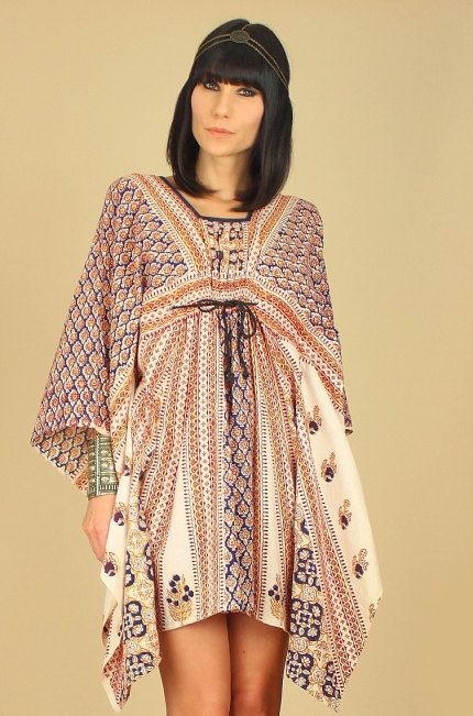ViNtAgE 60's 70's INDIAN CAFTAN Mini Dress by hellhoundvintage