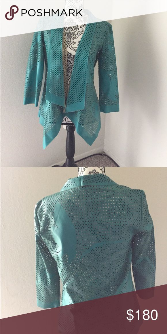 Alberto Makali Vegan Leather Cardigan (NVW) Turquoise vegan leather - 100% polyurethane - never worn Alberto Maliki cardigan from Nordstrom. Last one sold. Labeled small bought it fit my daughter perfectly and she normally wears medium. Alberto Makali Jackets & Coats Blazers