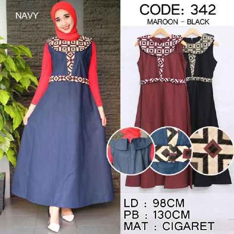 Baju Muslim Maxi 342 Batik Cantik Cantik - http://bajumuslimbaru.com/baju-muslim-maxi-342-batik-cantik