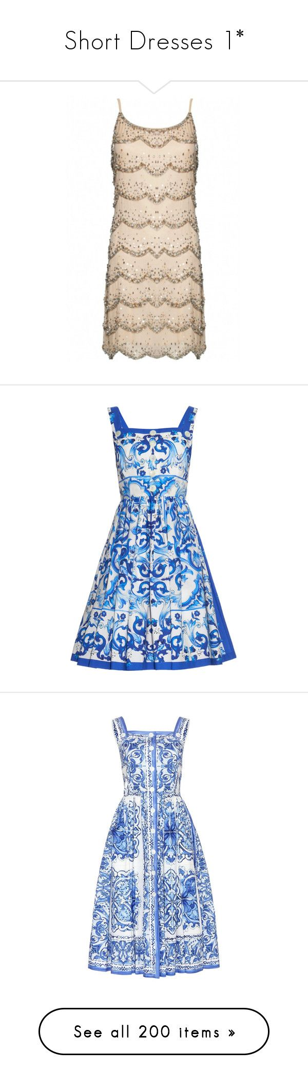 """""""Short Dresses 1*"""" by thesassystewart on Polyvore featuring dresses, short dresses, alice olivia dress, pink slip dress, slip dress, short beaded dress, vestido, blue print, pattern dress and mixed print dress"""