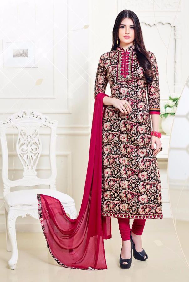 Buy Online Designer Printed Churidar Suit or shuits Black and Pink Color, Cotton material, Chiffon Dupattas, Party Wear, Casual wear, Summer Wear, Festival Wear, Kitty Party Wear for women, Churidar Suits, Churidar suit, shuits for women. We have large range of Designer Printed Cotton Churidar suits in our website with the best pricing and unique designs shipping to (UK, USA, India, Germany, UAE, Canada, Singapore, Australia, Mauritius, New Zealand) world wide.
