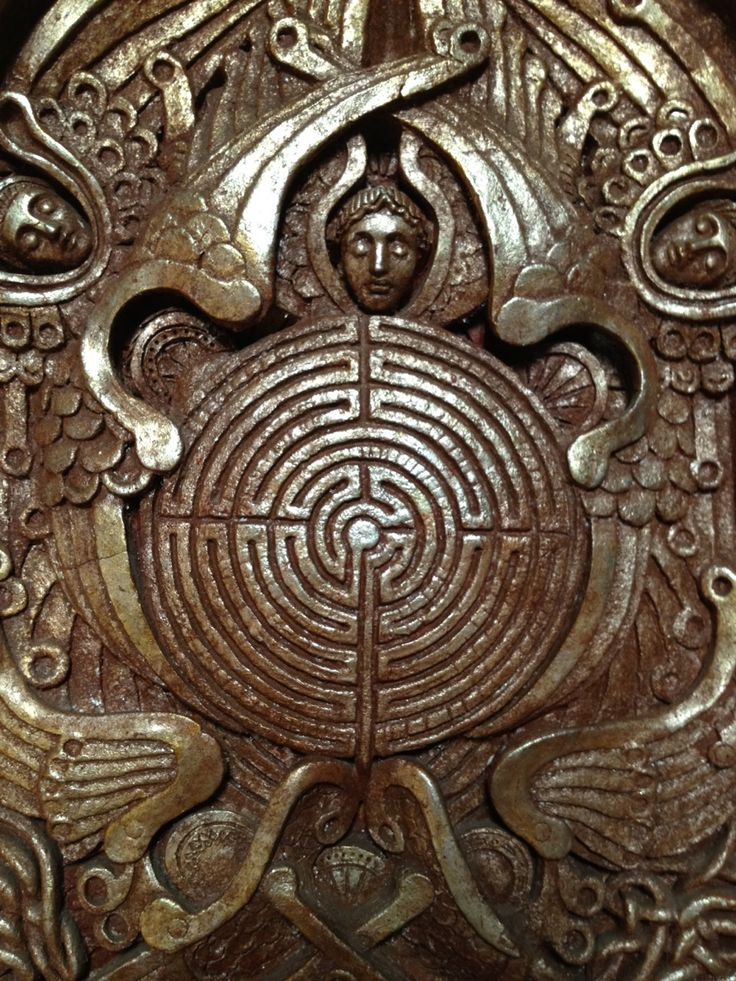Labyrinth Maze:  A #maze on the altar front in the Watts Chapel, England.