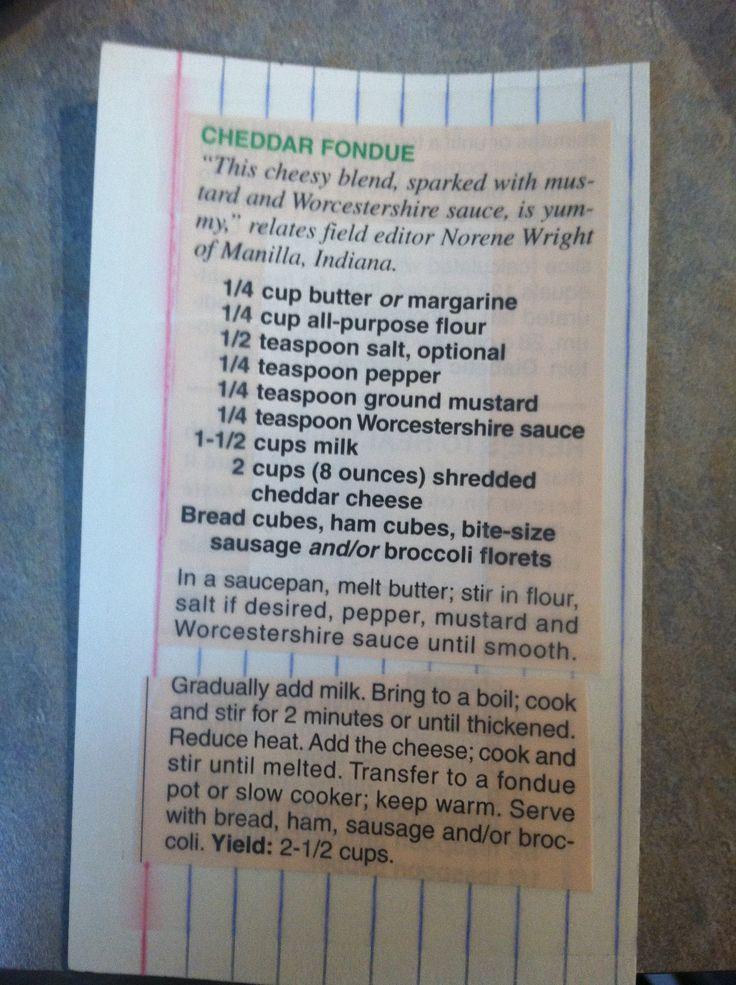 Cheddar fondue recipe (delicious!)