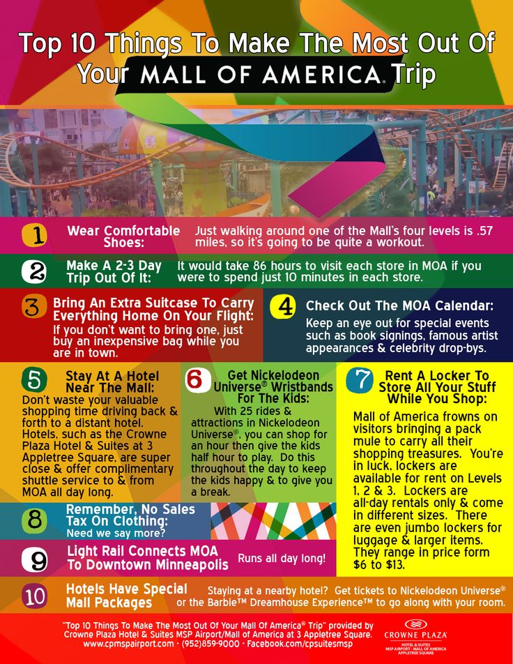 """Top Ten Things To Make The Most Out Of Your Mall Of America® Trip."" Infographic  Mall of America®, located in Bloomington, MN, offers the best shopping in Minnesota."