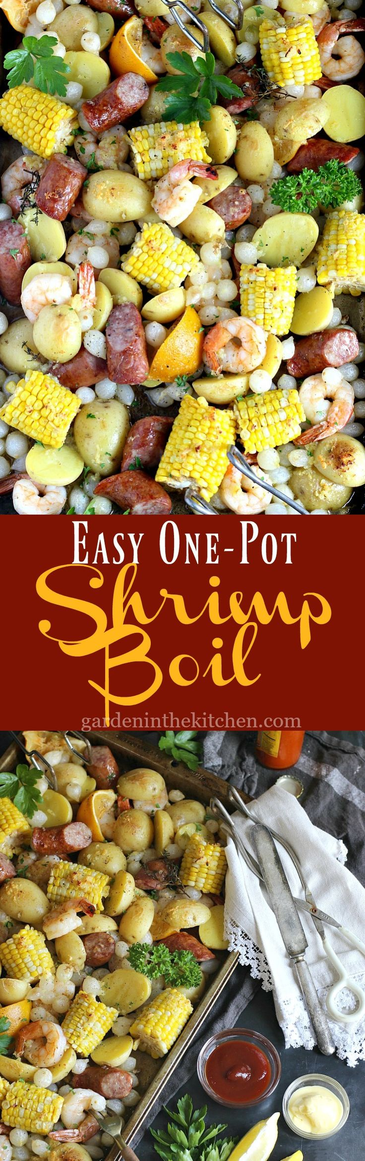 Easy One Pot Shrimp Boil | Celebrate summer and create memories around the table with this easy One Pot Shrimp Boil flavored with melted garlic butter. @GardeninKitchen