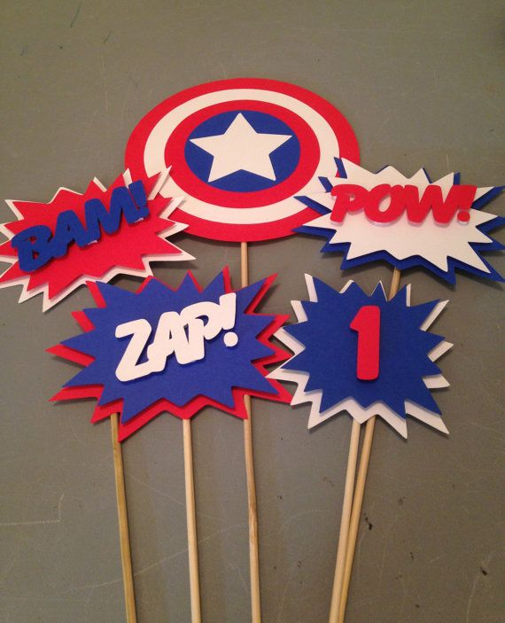 Captain America Centerpiece, 5 pc, Superhero party, Batman  Party, Batman  Birthday Party                                                                                                                                                     More