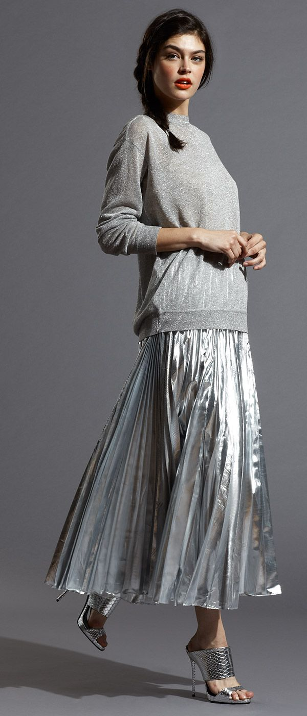DKNY Silver Metallic Pleated Maxi Skirt