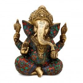 Taj Ganesha Statue Ganesh Hindu Elephant God of success Brass Idol