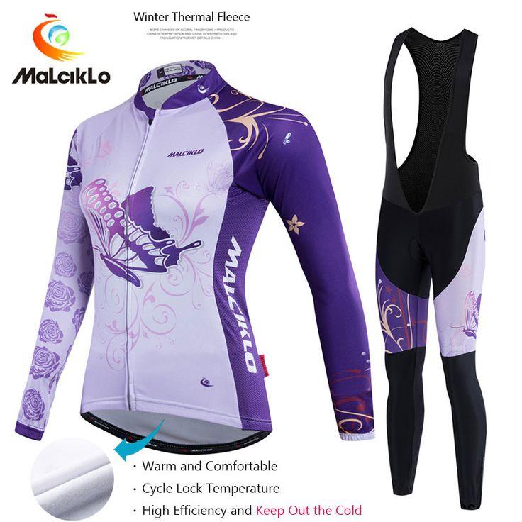 Malciklo Hot Pro Fabric Women Cycling Suit Winter Thermal Jersey Long Set Maillot Ropa Ciclismo Bike Bicycle Cycling Jersey Set