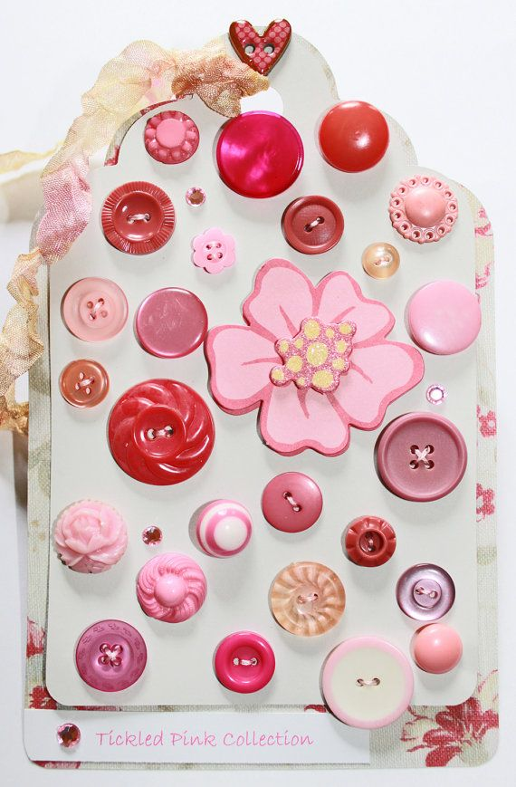 Pink sewing buttons - collection on card