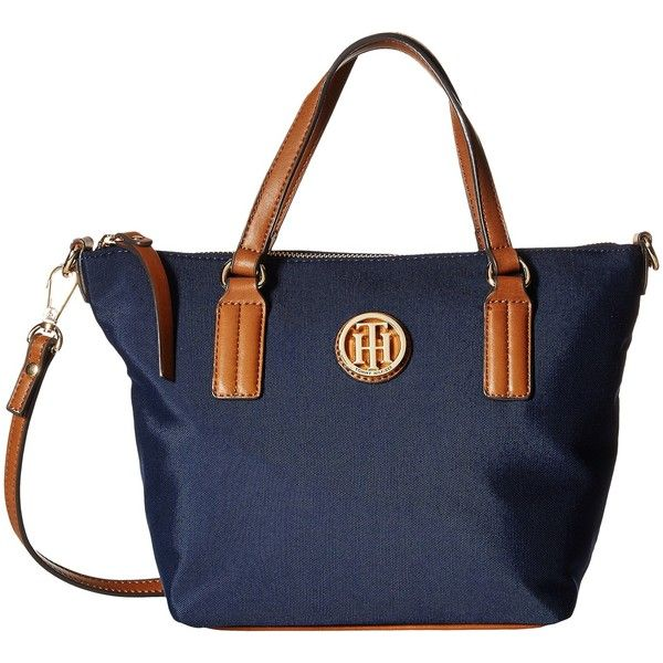 Tommy Hilfiger Ivy - Heavy Nylon Convertible Shopper (Navy) Tote... (52 CAD) ❤ liked on Polyvore featuring bags, handbags, tote bags, navy, handbags totes, blue tote, nylon tote, zip top tote and shopping bag