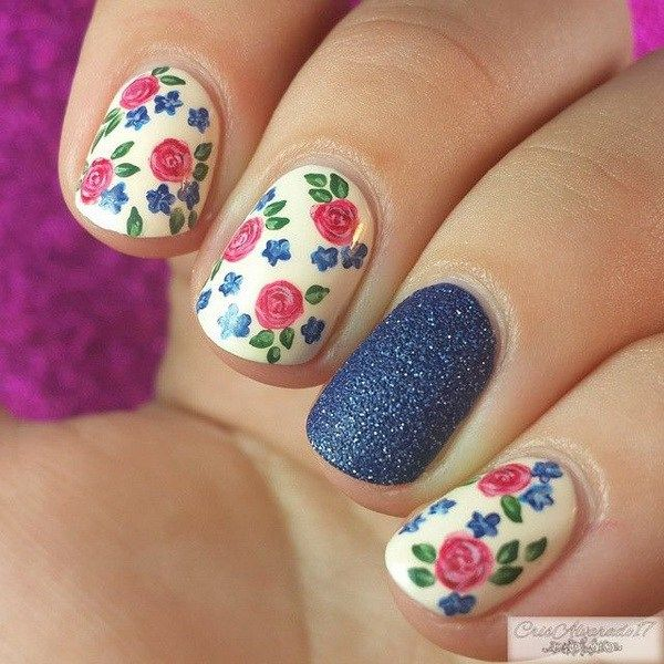 Pink and Blue Floral Nails.