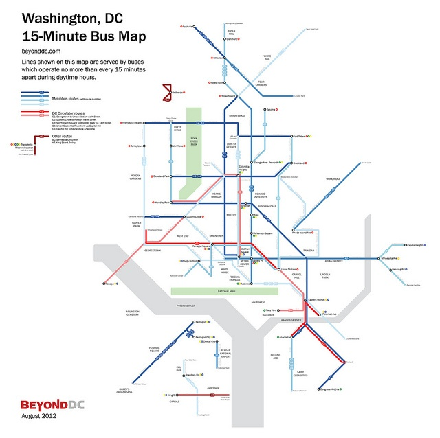 Best 25 bus map ideas on pinterest map of underground montreal washington dc 15 minute bus map by beyonddc sciox Images