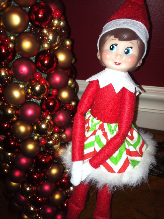 Christmas Red White & Green Zig Zag Skirt with Faux Fur Trim for Girl Elf on the Shelf on Etsy, $6.00