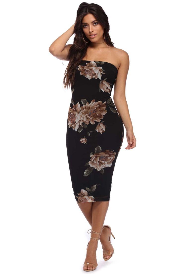 Black strapless mesh midi dress dresses midi dress