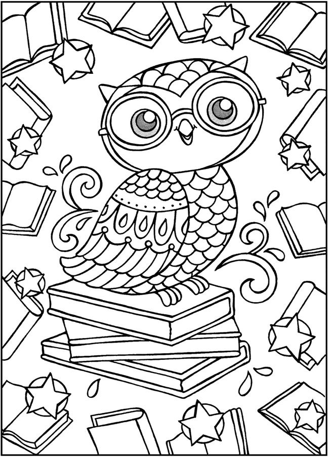 Owl And Book Coloring Page