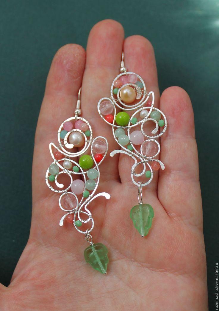 Купить Серьги Предчувствие Весны ( вариант ) - серебряный, жемчуг, wire wrap, фэнтезийное