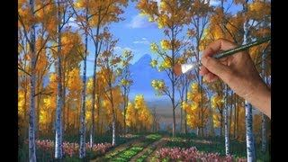how to paint trees with acrylics for beginners - YouTube