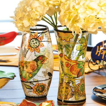 Handpainted Crackle Glass Vases from Cypress Home by Evergreen Enterprises (www.myevergreenonline.com)