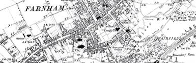Old map of Farnham town centre