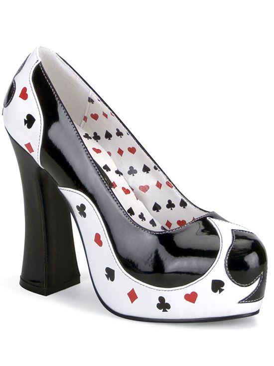 "Women's ""Poker"" Heels by Funtasma (Black/White)"