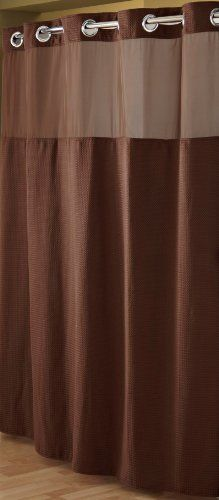 Hookless RBH52D229 Fabric Shower Curtain with Built in Liner  Chocolate Brown ** Click on the image for additional details.