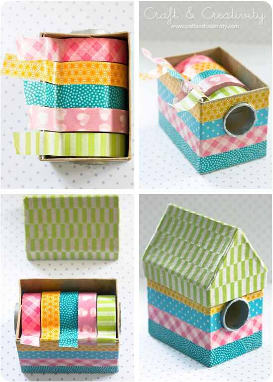 Reuse an aluminum foil box to craft a little washi tape abode. Washi tape dispenser via Craft & Creativity