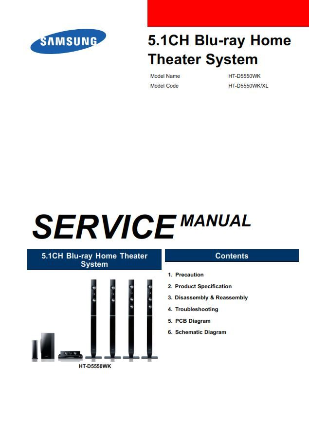 Samsung Ht D5550wk Home Theater System Service Manual Home Theater System Printed Circuit Board Manual
