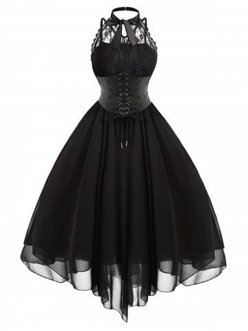 Incredibly Gothic Corset Lace-Up Lace Dress