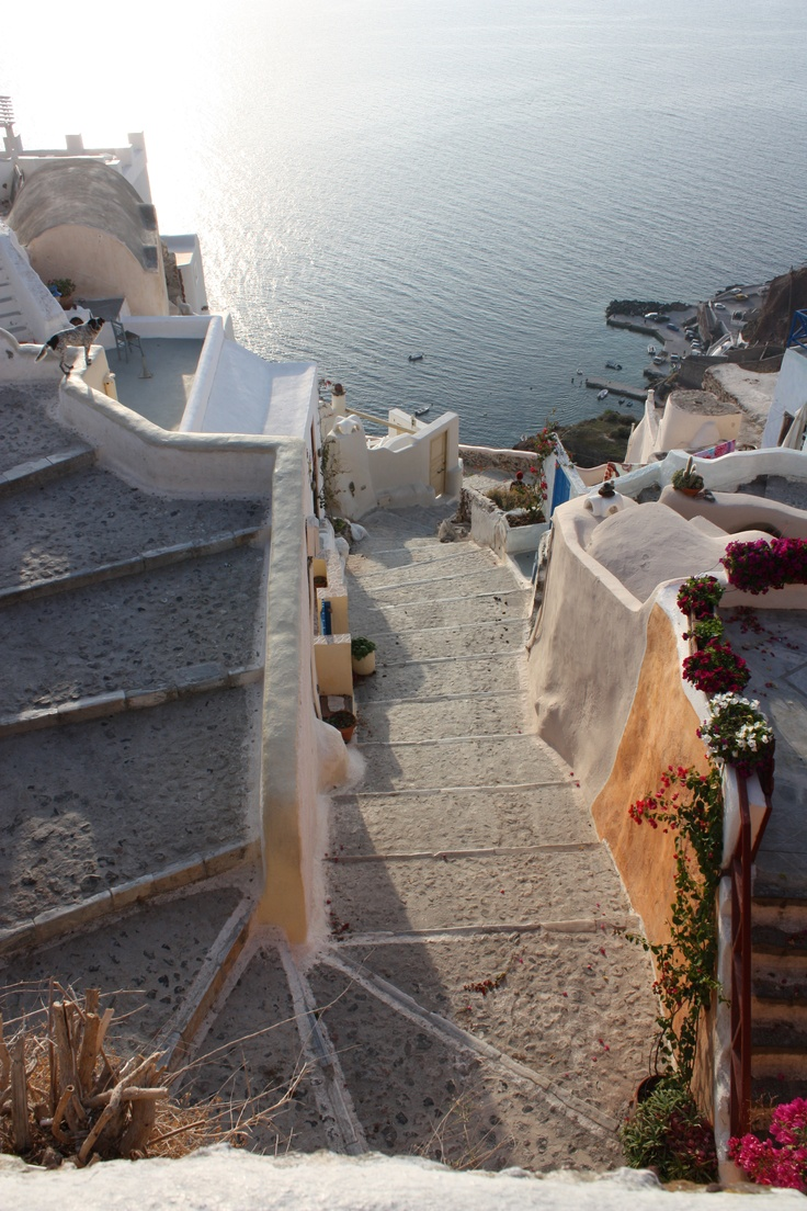 Great workout going up and down these steps in Oia