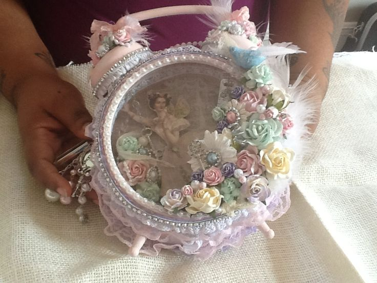 Shabby Chic Altered Clock. With the hands in the picture you realize that is one seriously big clock.