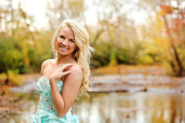 Senior Prom in teal dress creek bed hendersonville tn by Summer- Real Promises Photography, via Flickr