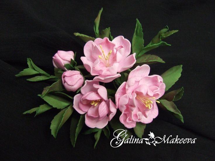 Розовая весенняя веточка из фоамирана фоамиран фом фомиарт цветы из фоамирана goma EVA