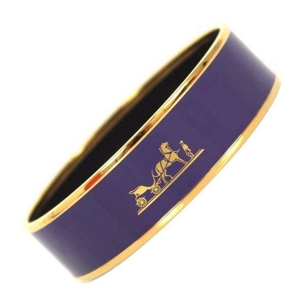 Pre-owned Hermes Purple Enamel Gold Plated 2015 Caleche 62 Bracelet ($700) ❤ liked on Polyvore featuring jewelry, bracelets, modern bracelets, hermes bangle, hermès, pre owned jewelry, wide bracelet and gold plated bangles