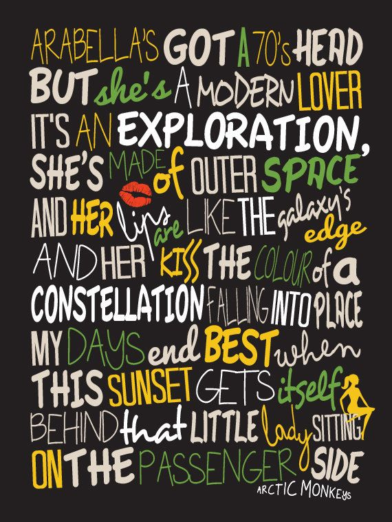 Arctic Monkeys - Arabella / Song Lyric Typography Poster quote