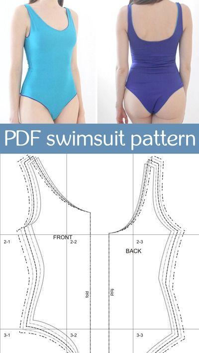 PDF sewing pattern one piece swimsuit for women   digital pdf swimwear pattern