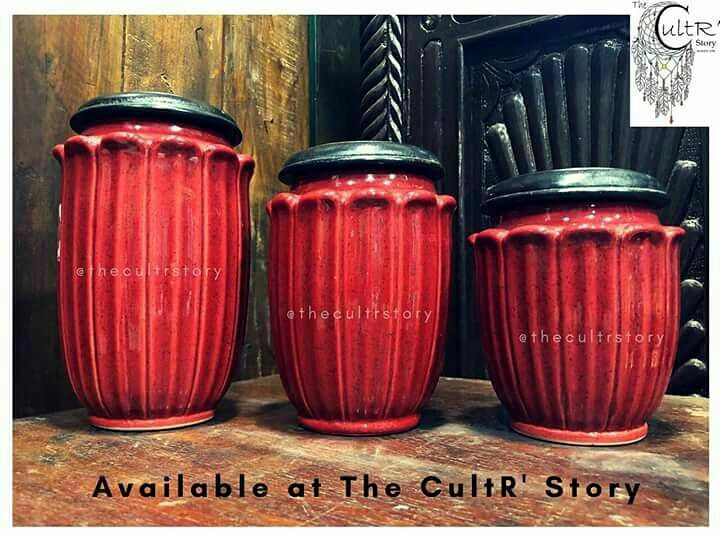 """Make your Kitchen & Dining space classy with these """"Rustic Ceramic Jars"""" available at The CultR' Story  Use as you wish😜  1) Tea, Coffee & Sugar containers 2) Chocolate & Cookie Jars 3) Achar Barnis  #ceramicjar #cookiejar #barnis #multipurposejar #kitchenaccessories #homedecor #available #at #thecultrstory #andheri #mumbai"""