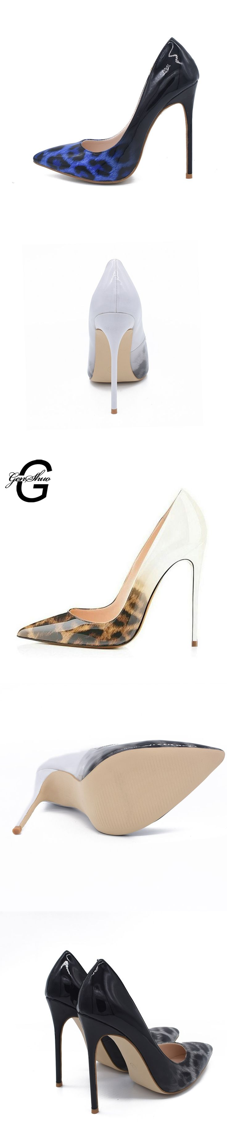 GENSHUO Sexy Leopard Pattern Stiletto High Heels Shoes Women Pumps Pointed Toe Woman Shoes Heels 8 10 12CM Plus Size 35-41 42