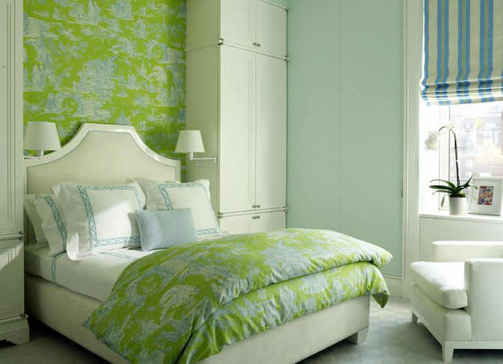 Turquoise and bright apple green toile wallpaper and for Blue and white bedroom wallpaper