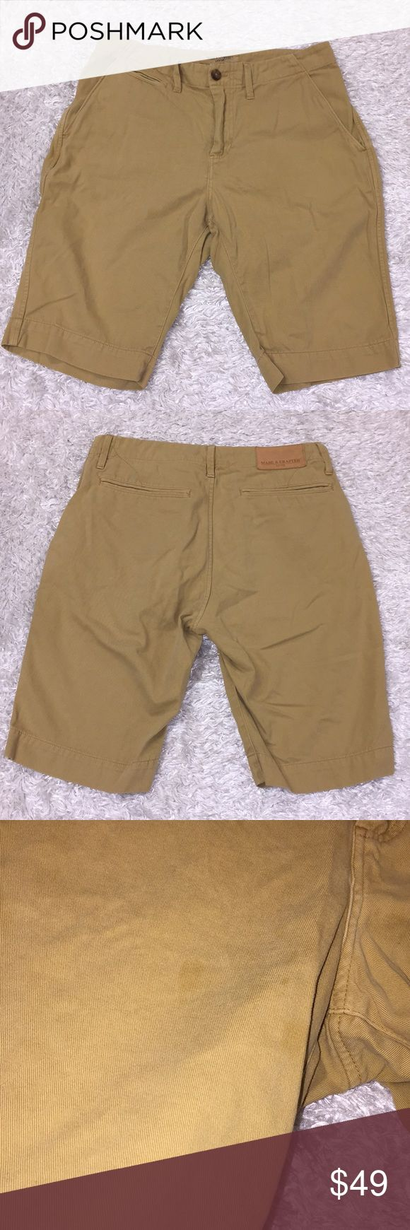 "Made & Crafted Levi Bermuda Shorts Size 28, great condition. Small blemishes on front. Color is a yellow Khaki color. Inseam: 10"". Waist: 14"". Rise: 10"". Feel free to ask any questions! No trades/model photos sorry. Offers thru offer button only! Items ship same day, M-F if purchased before 3pm PST. 😊x Levi's Shorts"
