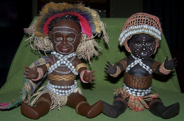 Papua New Guinea dressed Metti dolls.    The Papua New Guinea costume dolls were all made by Metti and ceased production in the 1970's; they are becoming quite collectable but still come up for sale.