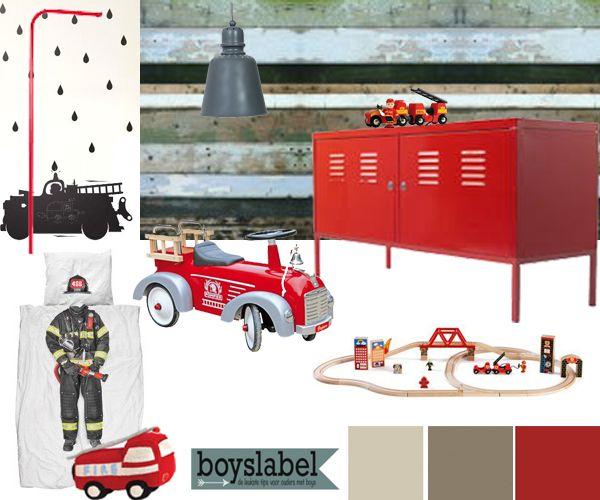 Stoere kinderkamer brandweerkamer jongenskamers for Interieur ideeen jongenskamer