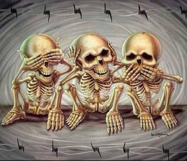 Skull see no evil, hear no evil hear no evil