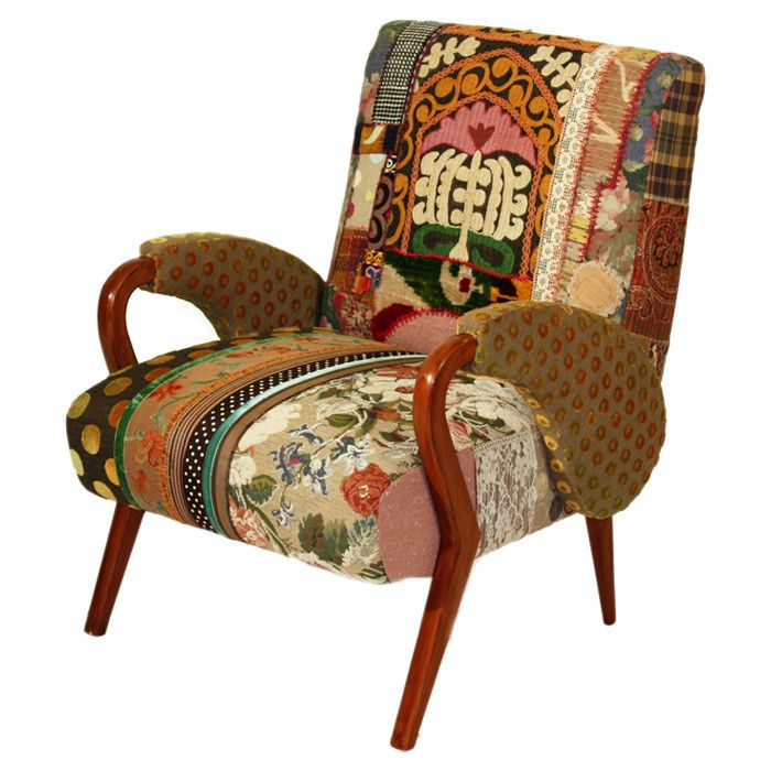 Arm Chair With Patchwork Upholstery And A Wood Frame. Handcrafted In  Lebanon. Product: ChairConstruction Material: Fabric And WoodColor:  MultiFeatures: ...